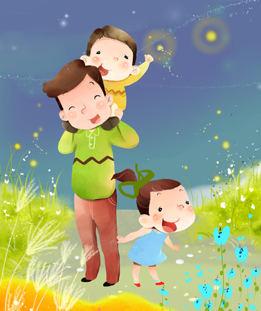 glows: mother and children at outdoor