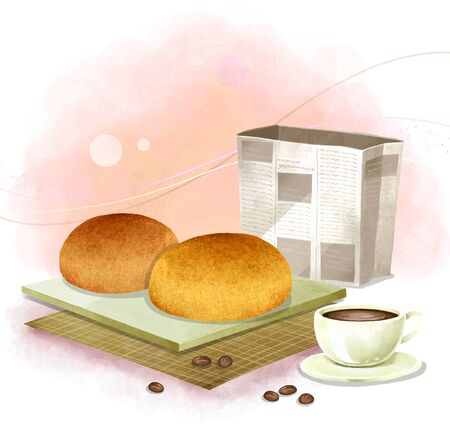 coffee beans: illustration of bread and pastries - coffee buns