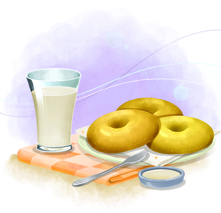 illustration of bread and pastries - bagel