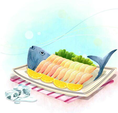 illustrating: illustration of Asian cuisine - sashimi