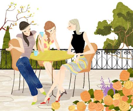 Three Woman on coffee table