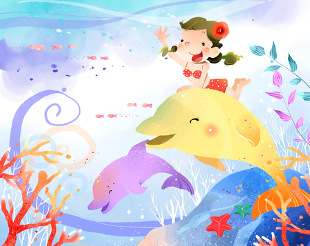 only baby girls: Girl riding on dolphin fish in water