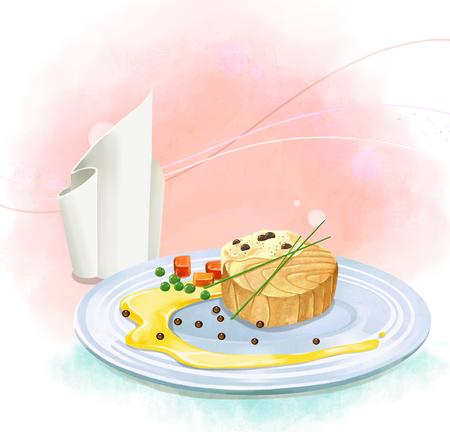 illustration of dinner plate - salmon steak
