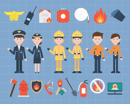 job themed vector illustrations - firestation