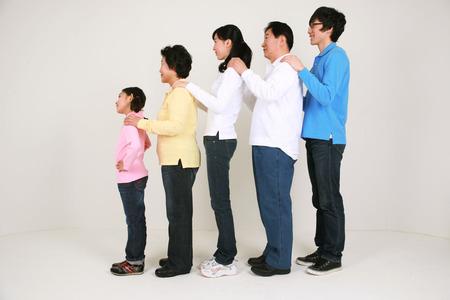 harmonious: An asian big family - isolated on white