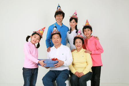 An asian big family - isolated on white