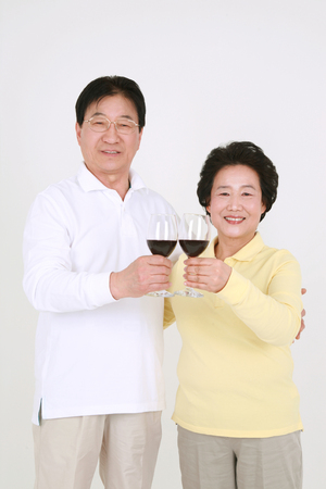 granddad: An asian big family dressed casually - isolated on white