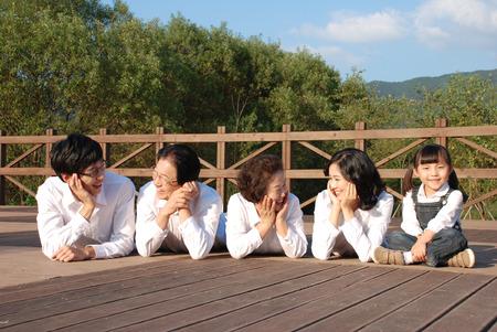 harmonious: Happy asian family