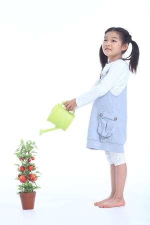 Een Aziatische gelukkige familie - geïsoleerd op wit Stockfoto