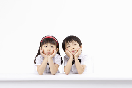 Asian kids with education concept- Isolated on studio shot Stockfoto