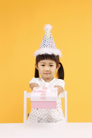 children party: Asian kids with education concept- Isolated on studio shot Stock Photo