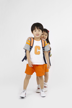 Asian kids with education concept- Isolated on studio shot Stock Photo
