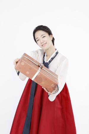 hanbok: korea traditional clothing, hanbok- Isolated on studio shot