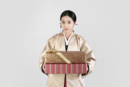 korea traditional clothing, hanbok- Isolated on studio shot