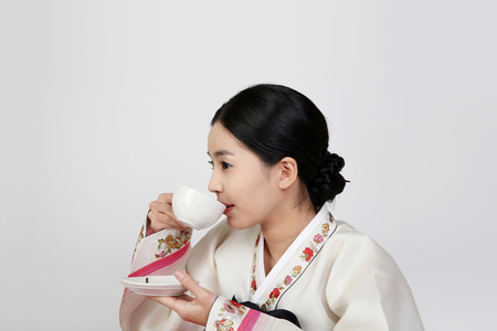 korea traditional clothing, hanbok- Isolated on studio shot