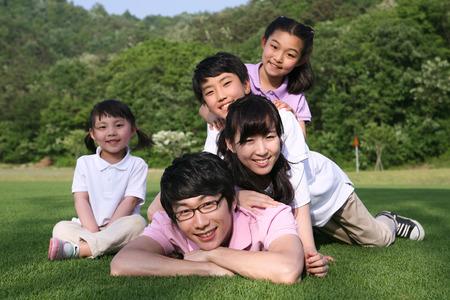 Happy asian family oudoor