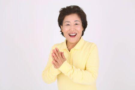오래 된 아시아 부부의 행복 한 일상 생활 - 화이트 절연