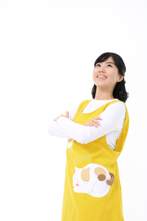 Daily life of asian housewife - isolated on white Stock Photo