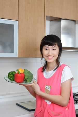 Daily life of asian housewife at home