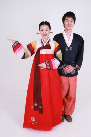 hanbok: Korean family with traditional clothing - isolated on white