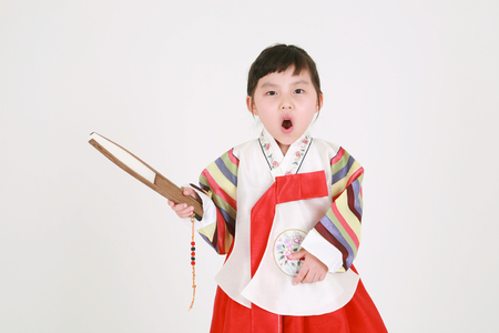 Korean little girl with traditional clothing - isolated on white