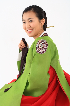 Young korean woman with traditional clothing - isolated on white