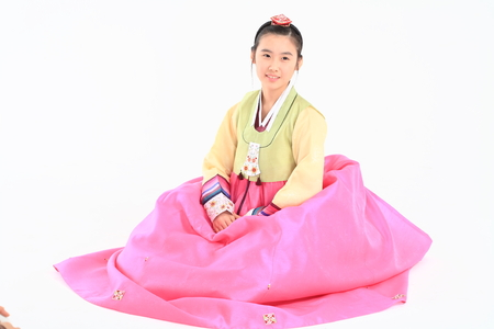 Korean teenage girl with traditional clothing - isolated on white