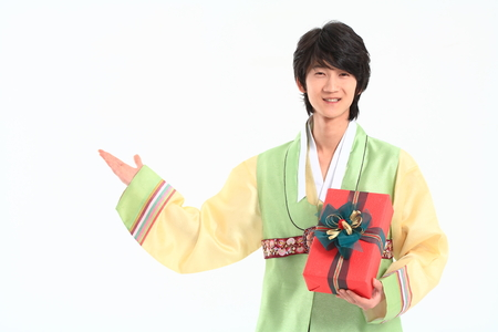 hanbok: Korean young man with traditional clothing - isolated on white
