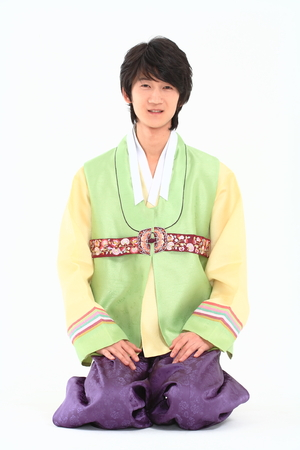 Korean young man with traditional clothing - isolated on white