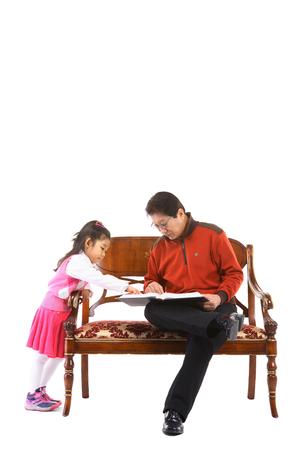 Korean grandfather in studio - isolated on white와 소녀 Stock Photo