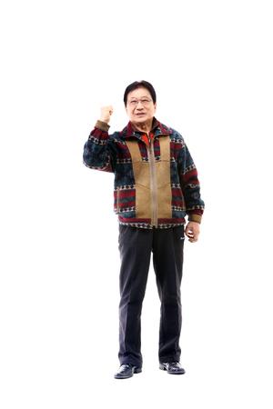 Korean grandfather in studio - isolated on white Stock Photo