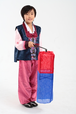 hanbok: Korean little boy with traditional clothing - isolated on white