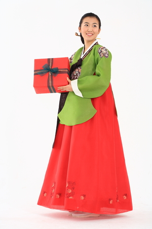 hanbok: Young korean woman with traditional clothing - isolated on white