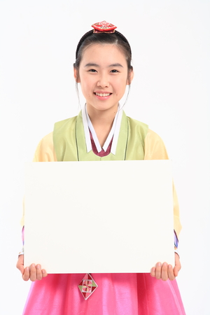 hanbok: Korean teenage girl with traditional clothing - isolated on white