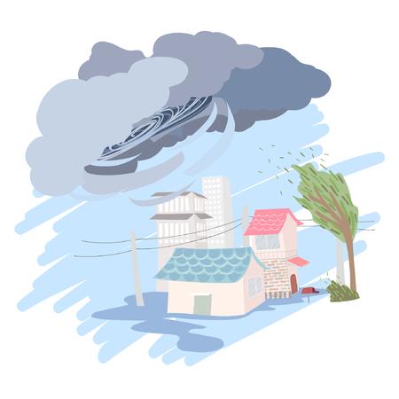 tornadoes: Weather vector illustration - Rain, storm, hurricanes Illustration