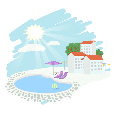 breakfast in bed: Weather vector illustration - sunny, hot summer, holiday