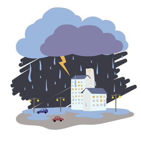 thunderstorms: Weather vector illustration - rain, lightning, thunderstorm Illustration