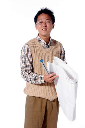 Asian man majoring in architecture - isolated on white