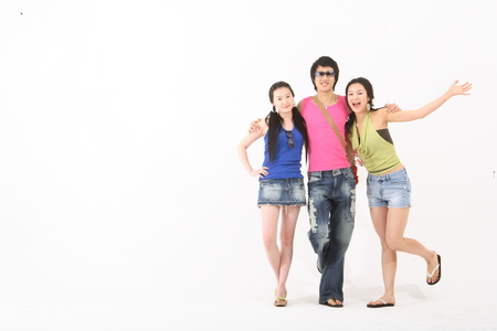 Summer holiday concept - Young Asian people on vacation,isolated on white