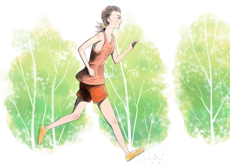 Vector illustration - Beautiful girl running in the park Illustration