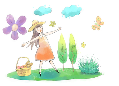 Vector illustration - Beautiful girl enjoying picnic in the park