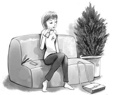 Illustration vectorielle - Fille qui pleure sur le canapé