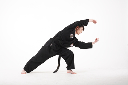 Asian martial arts master - isolated on white