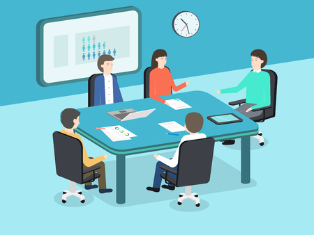 Business people working in the office - vector illustration