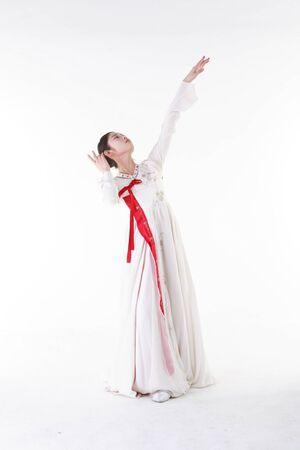 Korean traditional dancer - isolated on white