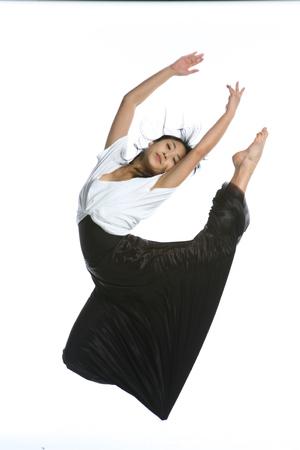 Beautiful asian female modern dancer - isolated on white Banco de Imagens