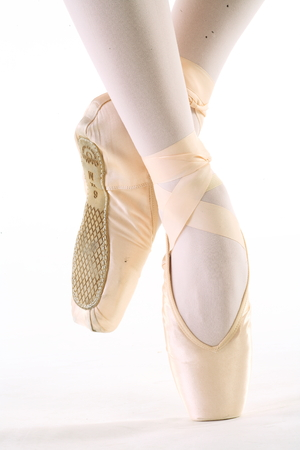 ballerina tights: Ballet dancers toe shoes - isolated on white