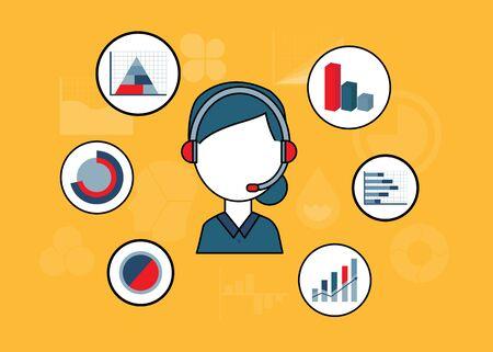 Business concept line illustration - vector