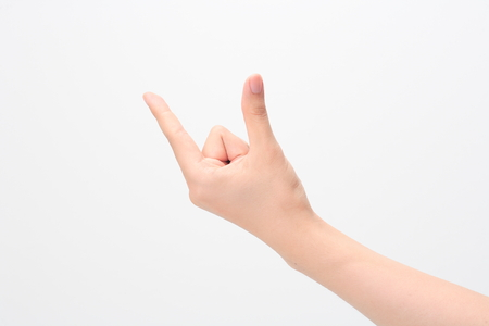Hand gesture, pick up - isolated on white