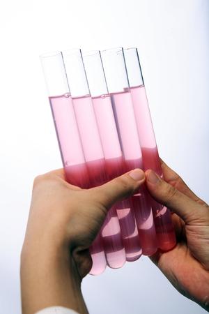 Close-up shot of hands holding test tubes
